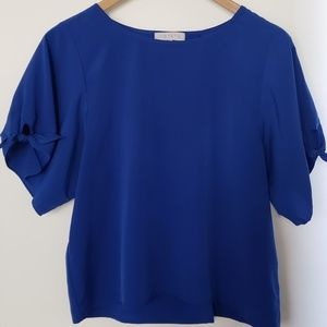 1.STATE Tie Sleeve Open Back Blouse Work S Blue